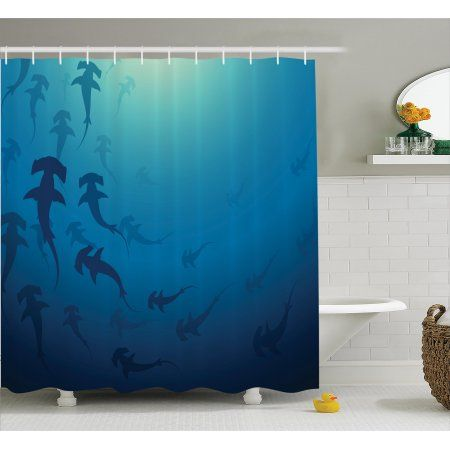 Blue Shower Curtain Set, Hammerhead Shark School Scan Ocean Dangerous Predator Wild Nature Illustration, Bathroom Decor, Navy Blue, by Ambesonne