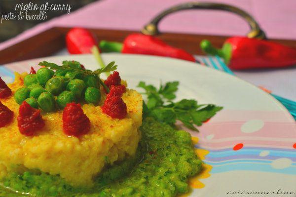 Miglio al curry con pesto di baccelli di piselli