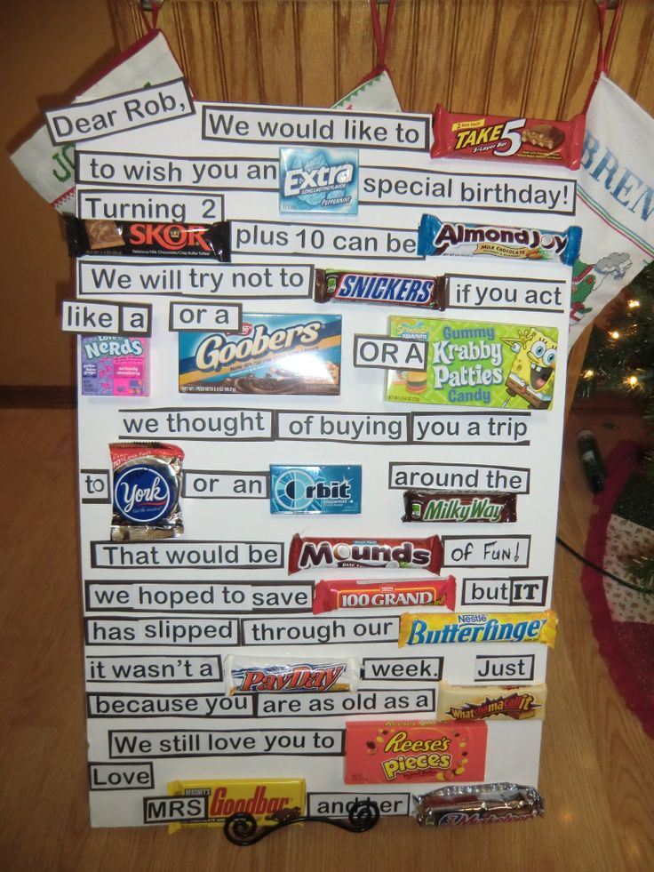 Candy Bar Message Party Stuff Homemade Birthday Gifts