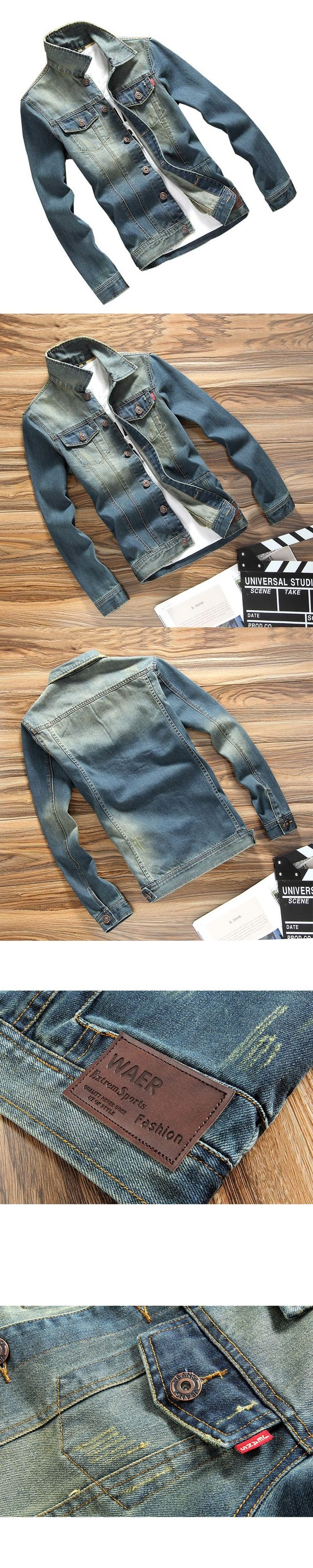 Men Slim Denim Jacket Retro Fashion Wholesale Autumn Chaqueta Hombre Men's Solid Jean Jacket Slim Fit Outwear Brand Clothing 3XL #mensjeansfashion