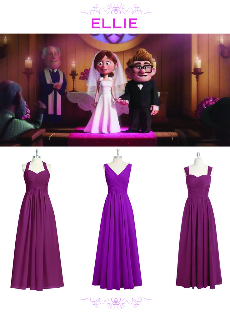 6 Bridesmaid Sets Inspired By Disney Weddings | UP-inspired plum + wine bridesmaids dresses | [ http://di.sn/6000BfnIK ]