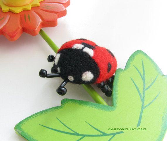 Ladybug Handmade Felt Brooch Made to Order Needle Felting
