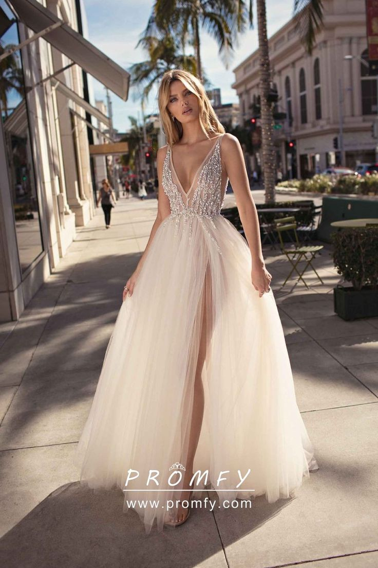 Sexy Sheer Beaded Ivory Tulle High Split Plunging V Neckline A-line Formal Gown
