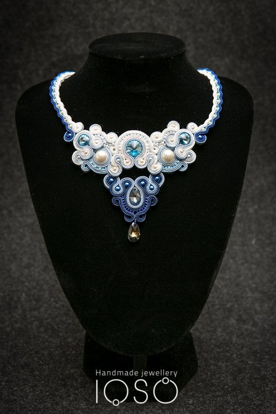Hey, I found this really awesome Etsy listing at https://www.etsy.com/listing/171096616/sn714-soutache-necklace-white-blue-made