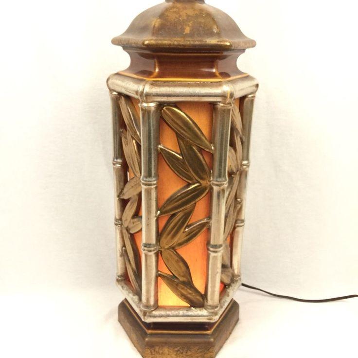 Faux Bamboo Table Lamp Base Lights Up Vintage Hollywood Regency Boho Lighting #Unbranded #Tropical
