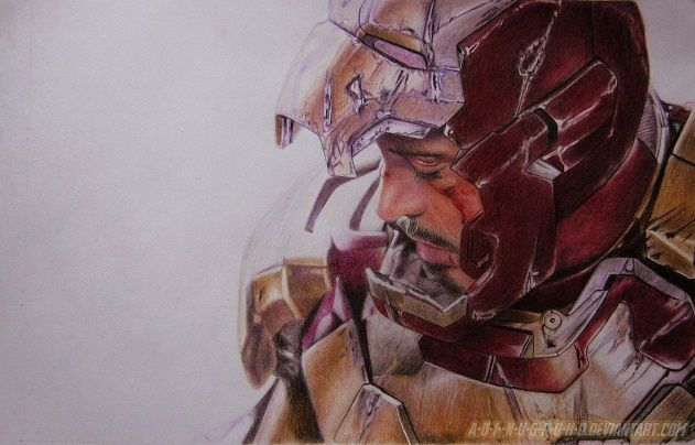 Tony Stark Iron Man 3 by A-D-I--N-U-G-R-O-H-O.deviantart.com on @deviantART - this is all colored pencil, folks.