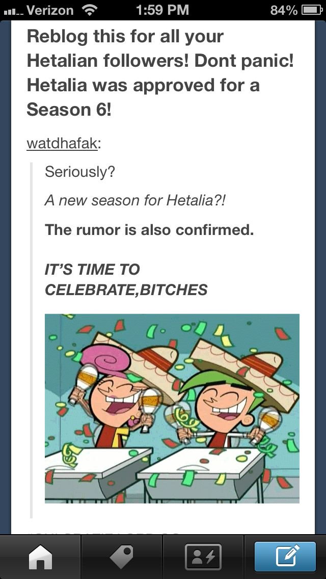I wanted to screenshot this for my fellow hetalian pinners!!! This tumblr post says Hetalia is approved for season six so YAY!!!!!!!
