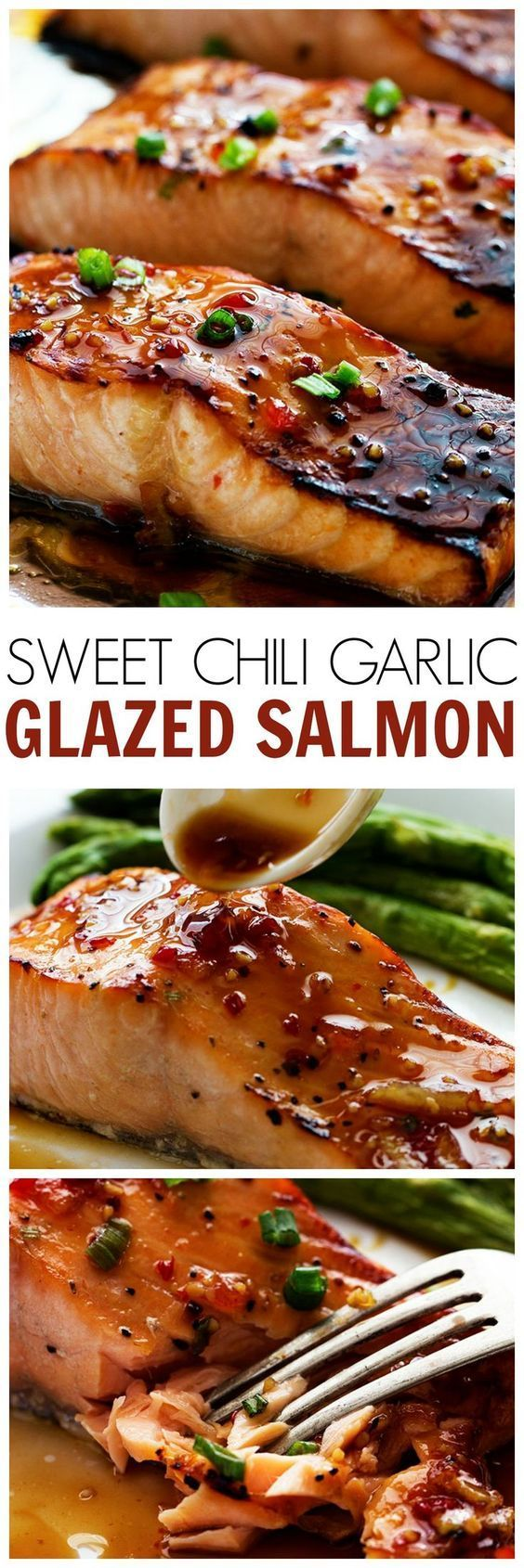 This Sweet Chili Garlic Glazed Salmon will be the BEST salmon that you ever make! The Glaze on top caramelizes to this perfect salmon and the flavor is AMAZING!! #seafoodrecipes