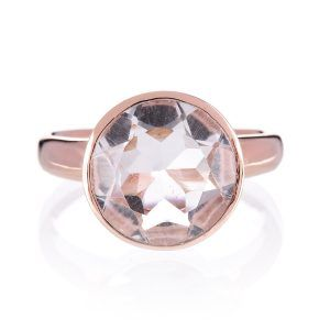 Manhatten Rose Gold Rock Crystal Cocktail Ring