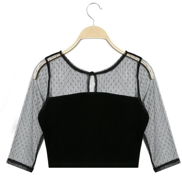 Yoins Casual Mesh Details See-through Crop Blouse ($17) ❤ liked on Polyvore featuring tops, blouses, black, see through tops, mesh insert top, see through blouse, transparent blouse and sheer crop tops