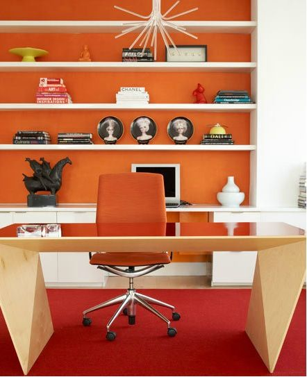 cool office colors. bringing colours from the runway into home orange gives an energetic pop of colour cool office colors o