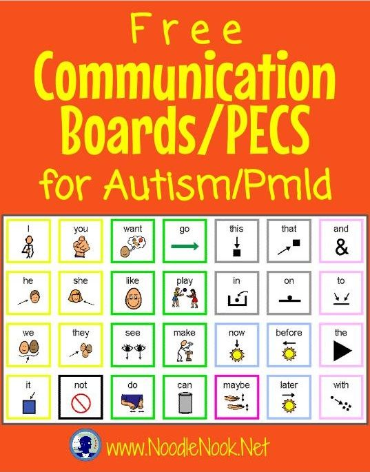CommBoards from NoodleNook for students with Autism or Nonverbal students