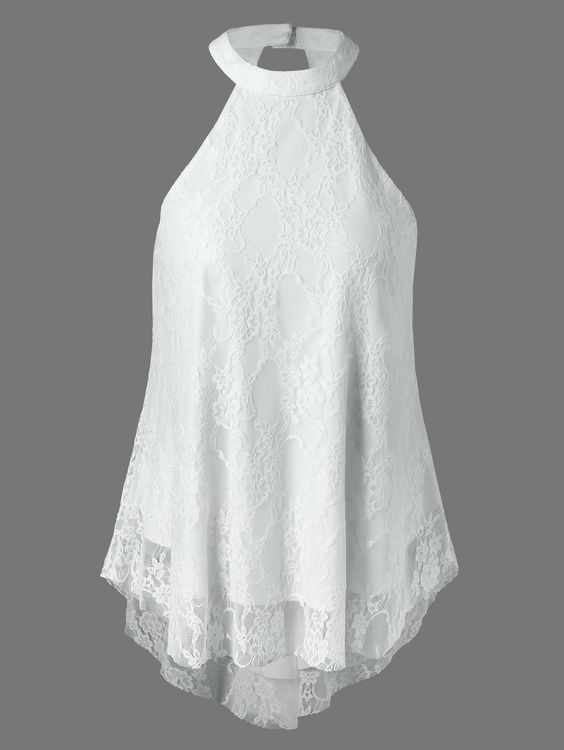 Cut Out Lace Tank Top in White | Sammydress.com
