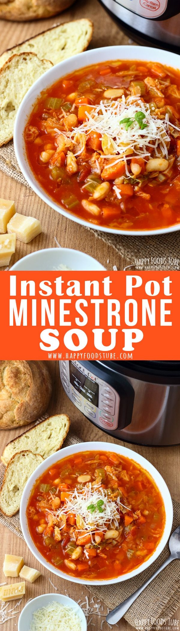 Instant Pot Minestrone soup is perfect for weeknight dinners. Hearty, comforting and served with a drizzle of olive oil, parmesan cheese and toast this Italian soup is definitely a Dinner Winner! #minestrone #soup #recipe #instantpot #pressurecooker #vegetarian #italian #food #authentic #homemade #traditional #minestronesoup