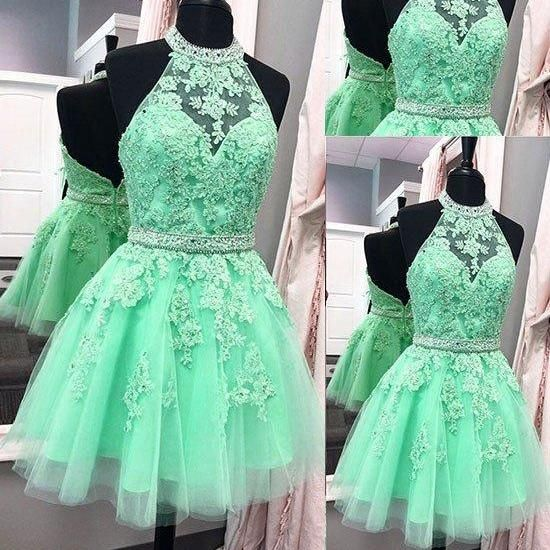Cute Halter Mint Green Short Backless Homecoming Dress Party Dress