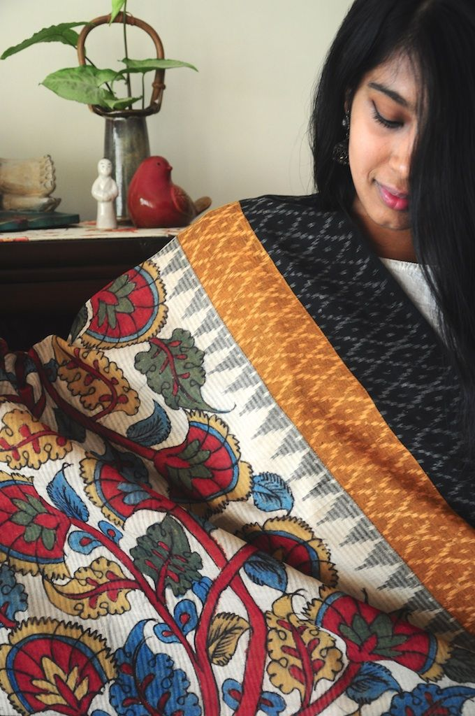 Hand painted Kalamkari art using natural, vegetable dyes on handloom ikat dupattas, available Omnah! See & shop the collection at: www.facebook.com/omnah