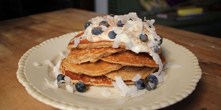 {Protein Pancakes} ---- replace almond meal with 1/2 amount of coconut flour, replace egg with Orgran Egg Replacer