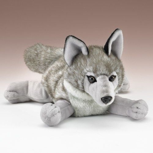 "Wolf Stuffed Animal - Lying 13"" Wolf Plush Toy #WildlifeArtists"