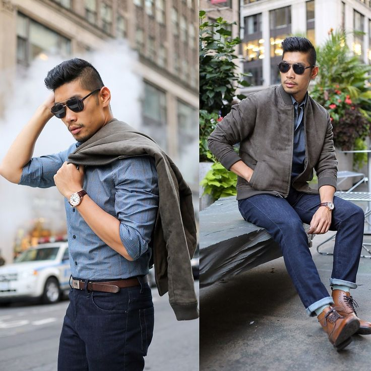 Levitate Style         I paired the Firenze Lunar (Brown strap) with a dark olive suede bomber and patterned dress shirt. I really like the fall colors on the shirt and it matches with the brown pieces well. I kept the look clean with an essential pair of dark denim and brown leather wingtip boots to finish off.  #TRAVEL #NYC #NEWYORK #FALL #STYLE #GENTLEMAN #MENSWEAR #AUTUMN  Photos by: Alicia Mara