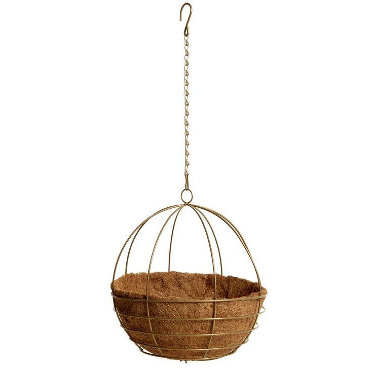 Wilko Hanging Basket Sphere Brass 30cm at wilko.com