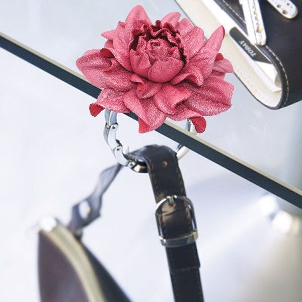2 in 1 : Tabletop Purse HANGER + Flower BAG CHARM   Real Leather Pearly Pink Rose Handbag Charm & Folding Table Purse Hook, silver keychain by YakLialia on Etsy
