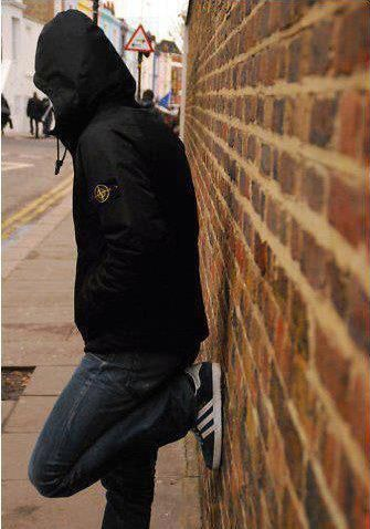 Typical match day clobber, Stone Island jacket and a pair of Adidas gazelles.