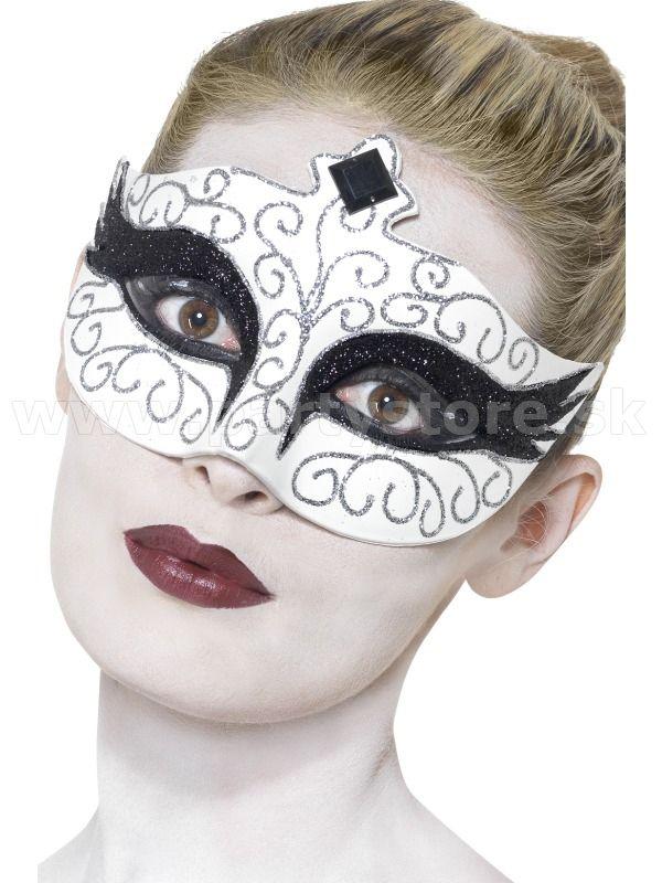 """Maska - škraboška """" Labuť - Gothic """" bielo - čierna, dámska"""