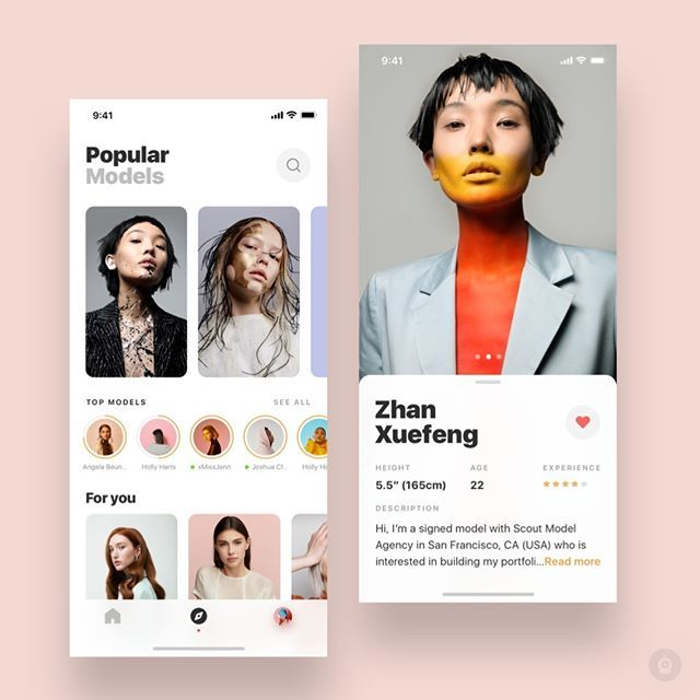 Model Profile By Betraydan Get Inspired Daily Follow Along At Design Bot Get Featured Tag Your Work With Des Mobile Design Model Profiles App Design
