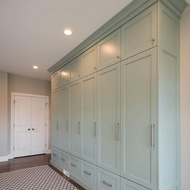 Benjamin Moore Wythe Blue. Mudroom cabinet painted in Benjamin Moore Wythe Blue…