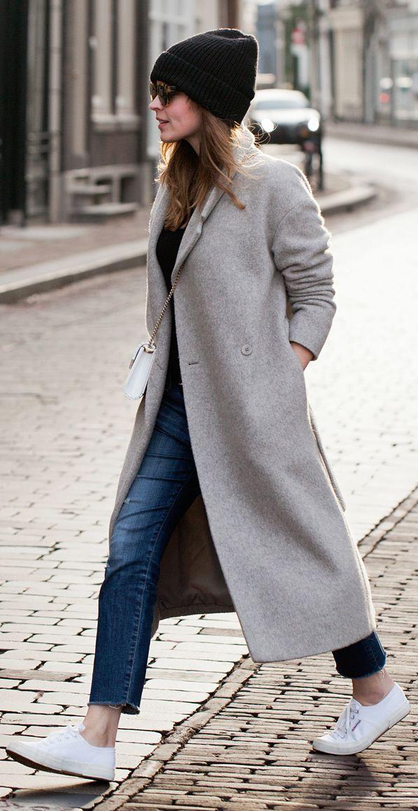 Grey Boyfriend Coat by Fash n Chips