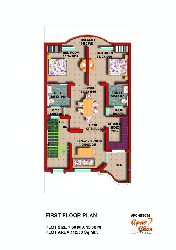 Detailed Floor Plans that maximize the use of available plot space - www.apnaghar.co.in