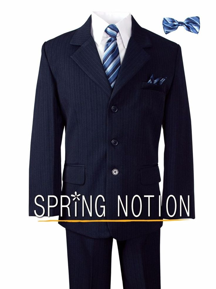 Tuxedo: Single breasted pinstripe suit; fully lined. Vest: Lined pinstripe vest. This classic navy blue suit is a complete set consists of tuxedo, shirt, tie, bow tie, vest and pants. Wear it in weddings, graduations, presentations or any special occasion. | eBay!