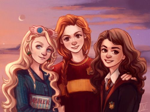 Three Harry Potter girls: Luna, Ginny, Hermione | artist: Wiebkeart