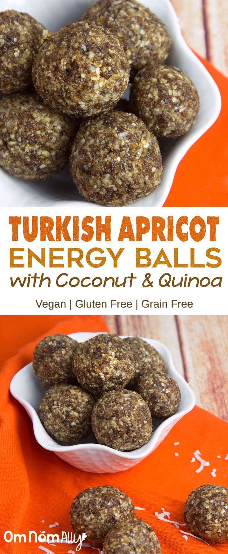 Turkish Apricot Energy Balls with Coconut & Quinoa - Vegan, High Fibre and Grain Free!
