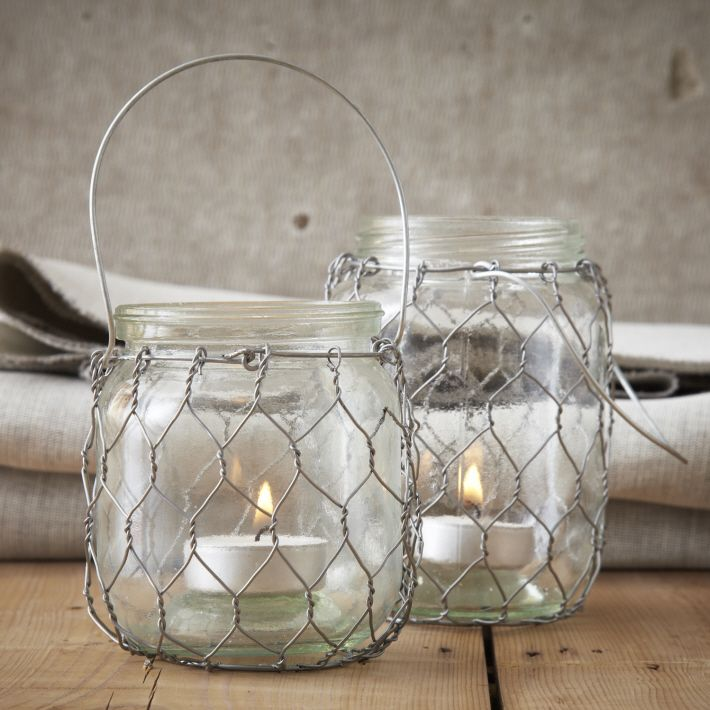 Two's Company Glass and Wire Lanterns. Two sizes available. #twoscompany #lanterns #homedecor