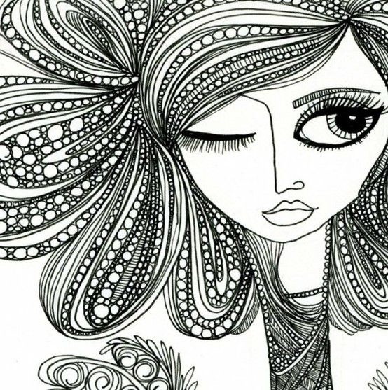 Cool face and hair zentangle design zentangle more for Drawing design ideas
