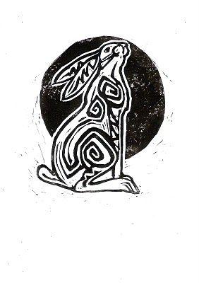 REVELLE ART - LINO PRINTS: MOONGAZING HARE