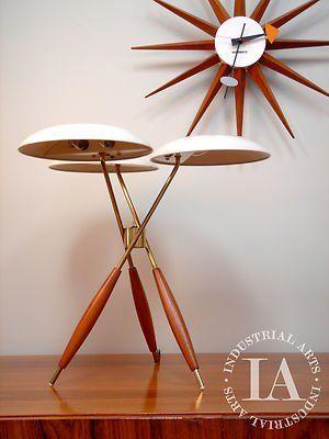 Mid Century Modern Brass Lightolier Gerald Thurston Profile Mushroom Lamp 1954