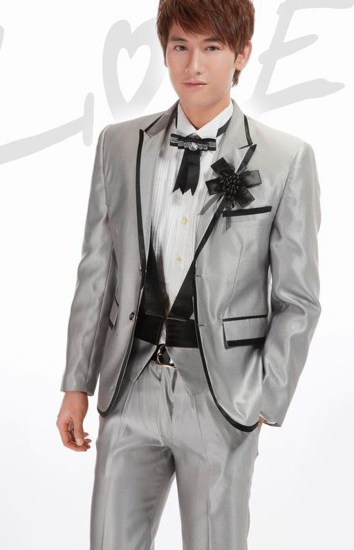 Buy Embellished Lapelled Single Button Groom Suit Grey with cheapest price|Clothing-Dropship.com