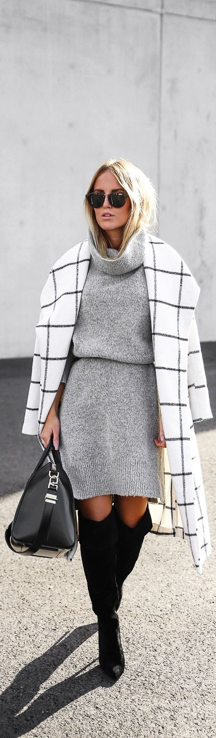 Checkered coat, turtle neck grey sweater dress and over the knee boots.