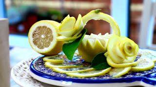ItalyPaul - Art In Fruit & Vegetable Carving Lessons: Art in Lemon Decoration | Lemon Rose Flower & Lemo...