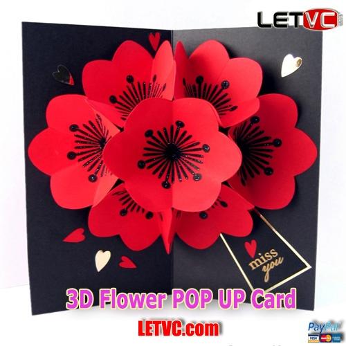 3д цветы в открытке