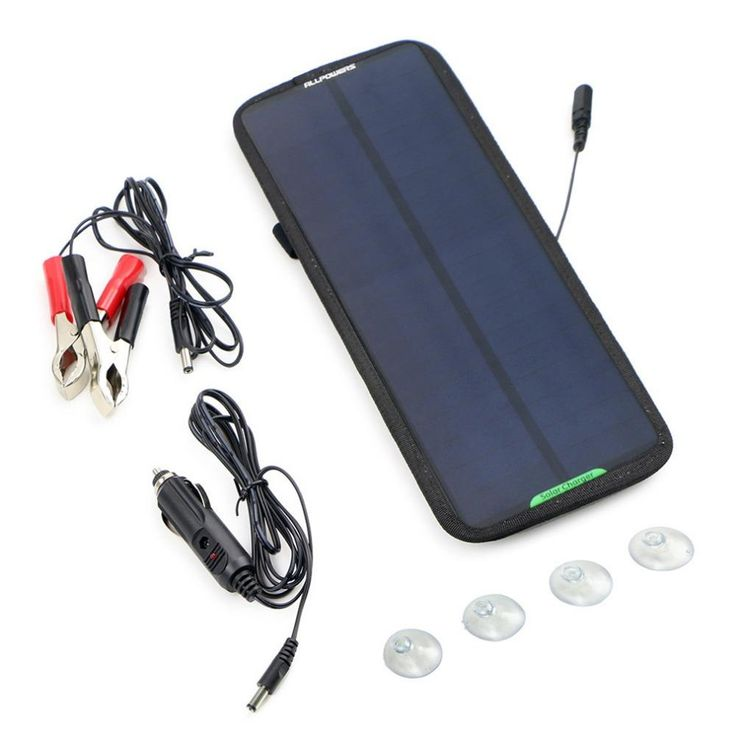 ALLPOWERS Solar Panel Charger 18V 7.5W Portable Solar Automobile Charger External Backup Battery Motorcycle Tractor Battery
