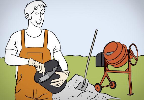 Heimwerker mischt Beton in einem kleinen Eimer selbst an. Im Hintergrund ist eine Betonmischmaschine zu sehen.