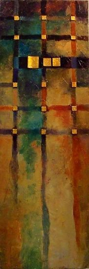 Boogie Woogie 12001 by Carol Nelson mixed media ~ 36 x 12