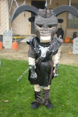 Homemade Minotaur Child Halloween Costume Idea: My son decided on a homemade Minotaur child Halloween costume idea this year.  The body was easy. I made a long sleeve shirt and leggings in a nude color.
