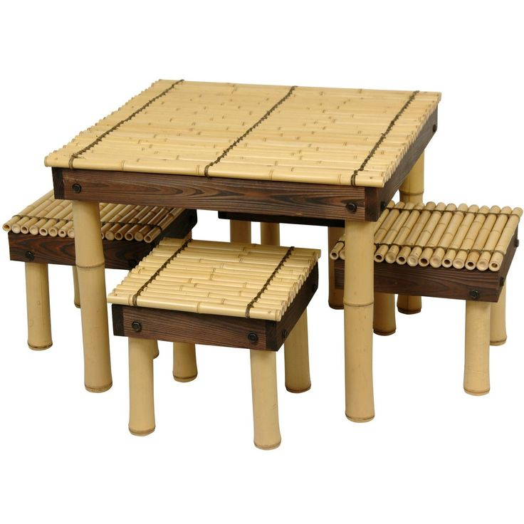 Zen Bamboo Coffee Table w/ Four Stools - OrientalFurniture.com