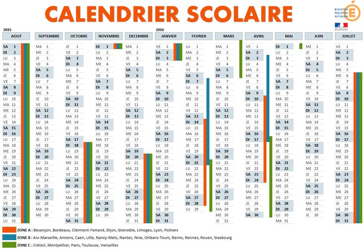 Calendrier Scolaire 2015 2016