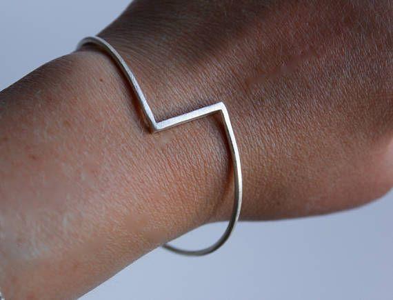 Solid Silver Bangle, Sterling Silver Bangle, Unusual Bangle, Geometric Bangle, Minimalist Contemporary Silver Bangle, Silver Jewellery