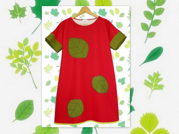 happy leaves, red handmade dress, applique